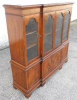 Small Mahogany Breakfront Bookcase Cabinet by Reprodux